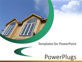 PowerPoint template displaying a house with clouds in the background