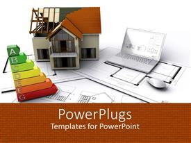 PowerPoint template displaying house on construction next to hard-copy blueprints, laptop and energy ratings graph