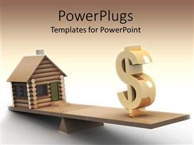 PowerPoint template displaying a house and dollar sign on a wooden see saw