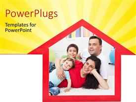 PowerPlugs: PowerPoint template with a house with a family in it and yellowish background