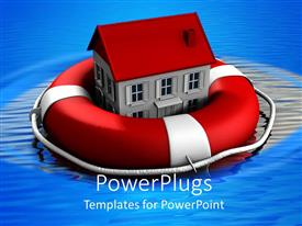 PowerPlugs: PowerPoint template with a house inside a lifesaver with a lot of water