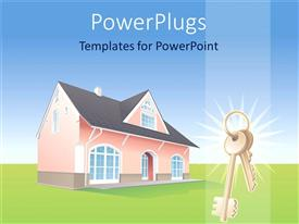 PowerPlugs: PowerPoint template with house in middle of lawn with key at bottom right corner