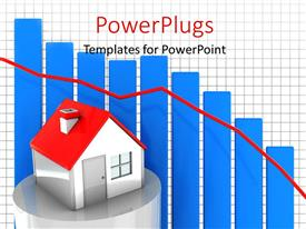 PowerPlugs: PowerPoint template with house model on a 3D bar with real estate market graph