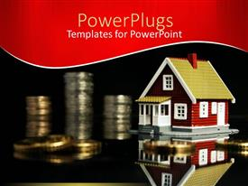 PowerPlugs: PowerPoint template with house model next to stack of coins in black background
