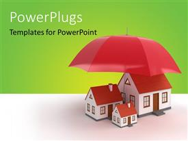PowerPoint template displaying house models under the umbrella depicting property insurance with green color