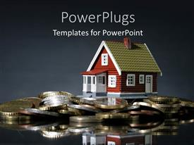 PowerPlugs: PowerPoint template with a house with a number of coins and greyish background