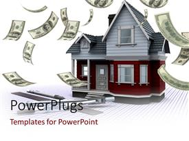 PowerPlugs: PowerPoint template with a house with a number of dollars in the air