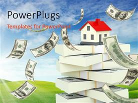 PowerPlugs: PowerPoint template with a house with a number of dollars and bluish background