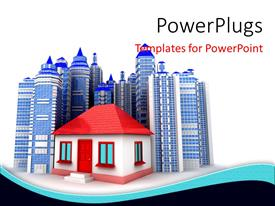 PowerPoint template displaying a house with a number of skyscrapers in the background