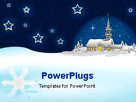 PowerPlugs: PowerPoint template with a house and a number of stars in the background