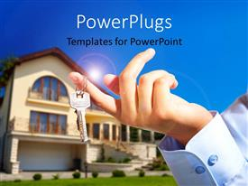 PowerPlugs: PowerPoint template with house owner/real estate agent giving away the keys with house out of focus