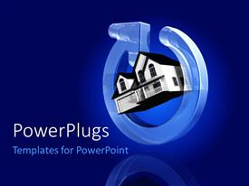 PowerPoint template displaying a house with a power sign and bluish background