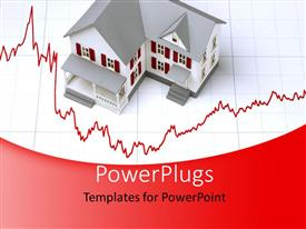PowerPlugs: PowerPoint template with a house with the recession sign and boxes in the background