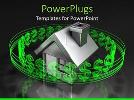 PowerPoint template displaying house surrounded by green dollar signs in black background