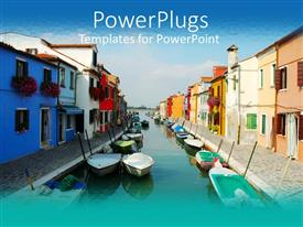 PowerPoint template displaying houses by the side of a blue lake with boats