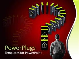 PowerPlugs: PowerPoint template with housing market metaphor with dominoes with house icons, real estate investing