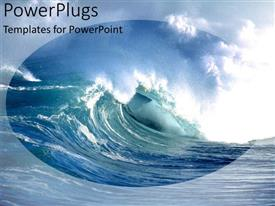 PowerPoint template displaying a huge blue ocean wave under a cloudy sky