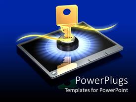 PowerPlugs: PowerPoint template with huge brass key in lock on screen of touch tablet