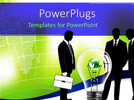 PowerPlugs: PowerPoint template with huge bulb with green globe inside with three businessmen around it