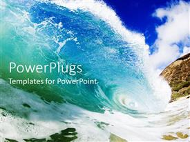PowerPoint template displaying huge ocean wave on a blue sea crushing down