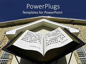 PowerPlugs: PowerPoint template with huge open 3D Bible in front of brown church