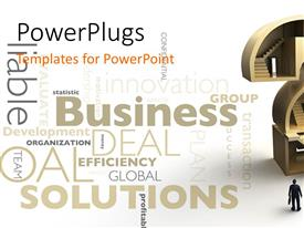 PowerPlugs: PowerPoint template with huge question mark with a corporately dressed male standing in front of it
