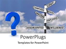PowerPoint template displaying a huge question mark and sign post with lots of sign boards