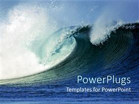PowerPoint template displaying huge rising rushing blue sea wave crashing on itself