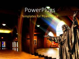 PowerPlugs: PowerPoint template with a huge statue of a saint in a cathedral