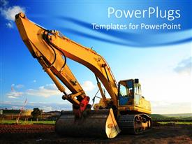 PowerPlugs: PowerPoint template with huge yellow excavator at construction site on muddy site