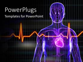 PowerPoint template displaying human anatomy with heart and ECG rays in foreground