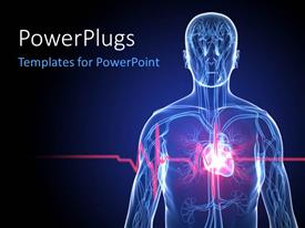 PowerPoint template displaying a human anatomy with heartbeat/heart attack