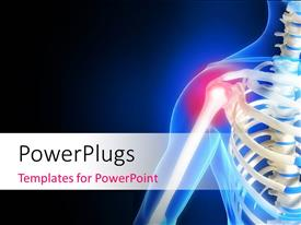 PowerPlugs: PowerPoint template with human anatomy showing pain in shoulder with black and blue color