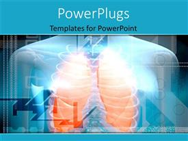 PowerPoint template displaying human body and lungs in orange color