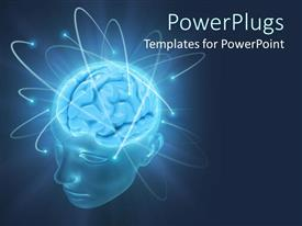 PowerPoint template displaying a human brain with bluish background and place for text