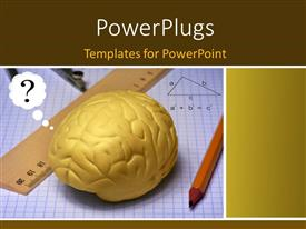 PowerPlugs: PowerPoint template with a human brain with drawing material present
