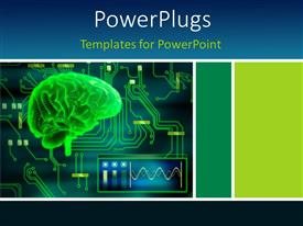 PowerPoint template displaying a human brain in green color with circuits in background
