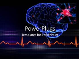 PowerPoint template displaying human brain with a highlighted small part of the brain and ECG waves