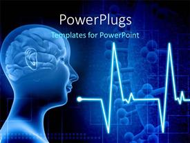 PPT theme consisting of human brain in a human body with ECG waves and cells in background