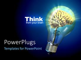 PowerPlugs: PowerPoint template with human brain inside a glowing electrical bulb, thinking concept