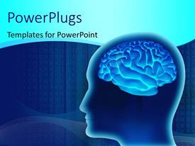 PowerPlugs: PowerPoint template with human brain inside a head made in 3D over a digital blue background