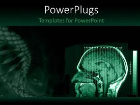 PowerPoint template displaying a human brain MRI with greenish background and place for text