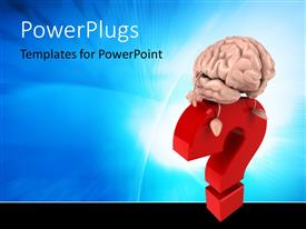 PowerPlugs: PowerPoint template with human Brain over the question mark in red with abstract blue background