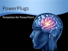PowerPlugs: PowerPoint template with a human brain with a spark and blackish background