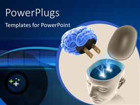 PowerPlugs: PowerPoint template with human brain unplugged from head socket over blue background