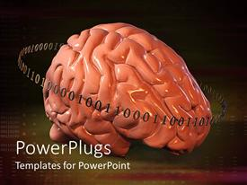 PowerPlugs: PowerPoint template with human brain vs digital technology showing in binary numbers