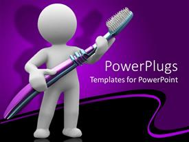 PowerPlugs: PowerPoint template with human carrying big brush and purple background
