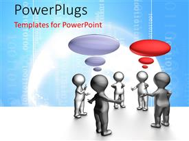 PowerPlugs: PowerPoint template with human character in Agile daily stand-up team meeting with binary code in the background