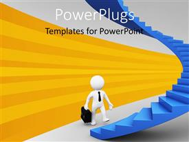 PowerPlugs: PowerPoint template with human character with briefcase ready to walk up stairs to reach success with yellow strips