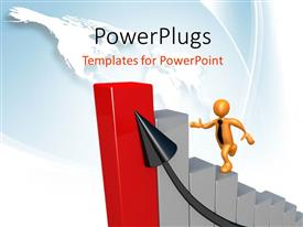 PowerPlugs: PowerPoint template with human character climbing bar graphs to reach top and an arrow pointing growth, world map
